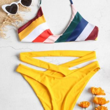 Sexy Diagonal Striped Print Triangle Beach Bikini [1410528018468]