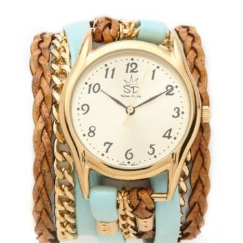 Sara Designs Flat Leather & Chain Wrap Watch | SHOPBOP Save 25% with Code EXTRA25