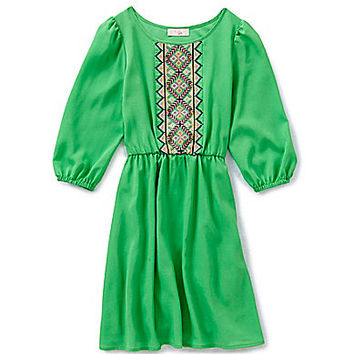 GB Girls 7-16 Embroidered Front Peasant Dress - Green