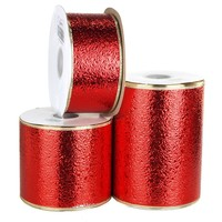 Water Resistant Cracked Ice Christmas Ribbon Wired Edge, Red w/Gold Edge, 50 Yards