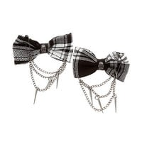 Grey Tartan Skull Hair Bows 2 Pack | Hot Topic