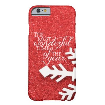 Red Christmas Sparkles with Quote Barely There iPhone 6 Case