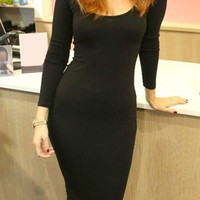 Solid Color Long Sleeve Bodycon Midi Dress