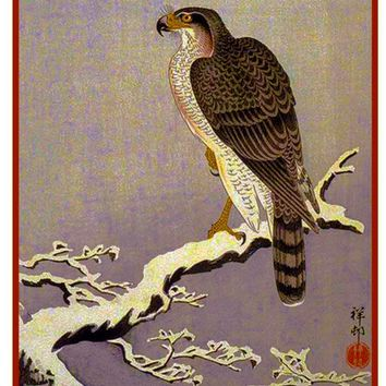 Japanese Artist Ohara Shoson's Eagle Bird on a Snowy Branch Counted Cross Stitch Pattern