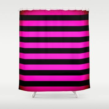 Stripes Pink & Black Shower Curtain by SimplyChic