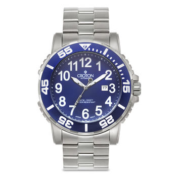 Croton Mens Stainless Steel Blue Blue Rotating Bezel Watch