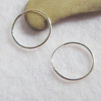 18 mm Sterling Silver 92.5% Hinged Round Hoop Earrings / Body Piercing Jewelry Cartilage Nose Lip Ring Sensitive Ears and Hypo Allergenic