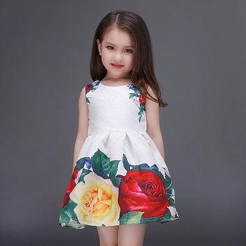 Rose flower Printing Girl's Dresses for Summer Flower pattern girl Party princess Dress Costumes cotton baby Girl dress