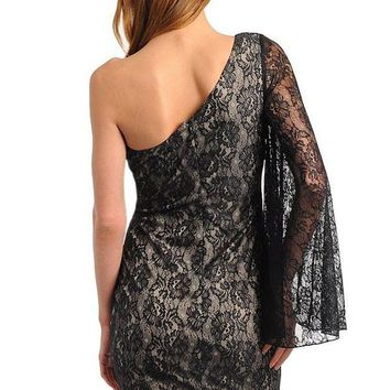Womens Lace One Shoulder Bell-sleeve Dress