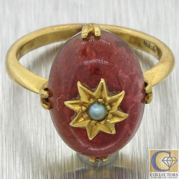1880s Antique Victorian Estate 18k Gold Pearl Star Cabochon Garnet Cocktail Ring
