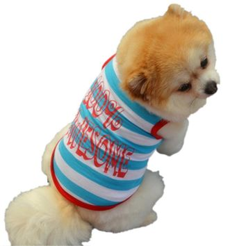 """%100 AWESOME"" Stripe Dog Tee"