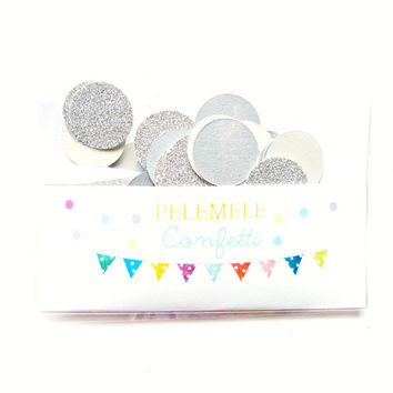 Silver Glitter & Shimmer Confetti - Party Confetti, Wedding Decor, Table Decor, Gold Party Decor, Gold Paper Circles, Glitter Confetti