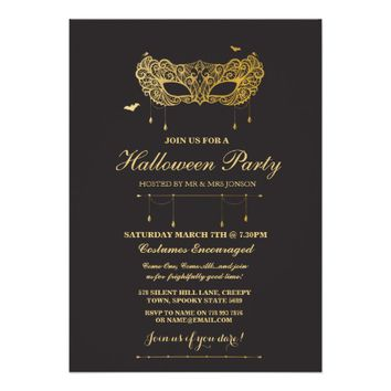 Halloween Gold Black Mask Masquerade Party Invite