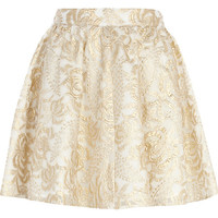 River Island Womens Gold embroidered skater skirt