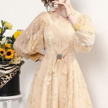 Lace Peasant Sleeve Dress