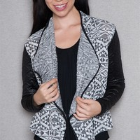 A3 Design Aztec Pattern Knit Jacket With Contrast Quilted Long Sleeves - Black