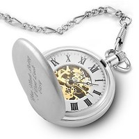 Personalized Skeleton Pocket Watch , Add Your Message