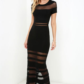 Stripe Up a Conversation Black Maxi Dress