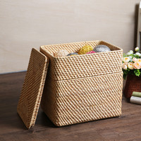 Rattan Overlapping Rattan Storage Basket with Cover, Storage Box Storage Box