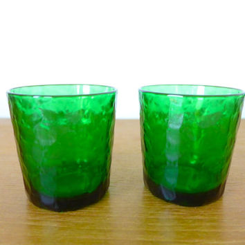 French emerald green textured rocks glasses