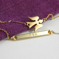 Double layer gold angel bracelet with bar initials, elegant double layer bracelet, everyday bracelet, guardian angel personal bracelet, gift