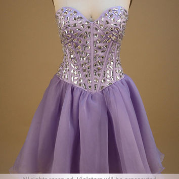 Purple organza sweetheart rhinestones short prom dress
