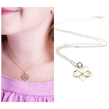 Infinity Heart Charm with Bronze Infinity Necklace - Children's Sterling Silver Jewelry