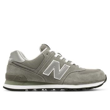 LMFON new balance 574 grey suede mesh athletic sneaker
