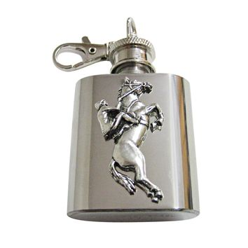 Horse Racing Jockey 1 Oz. Stainless Steel Key Chain Flask