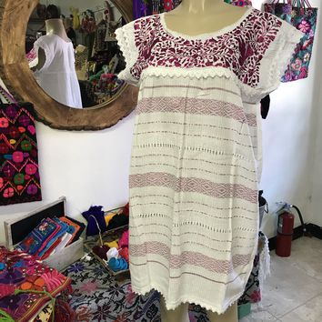 Oaxaca White Short Loomed Dress with Magenta Embroidery