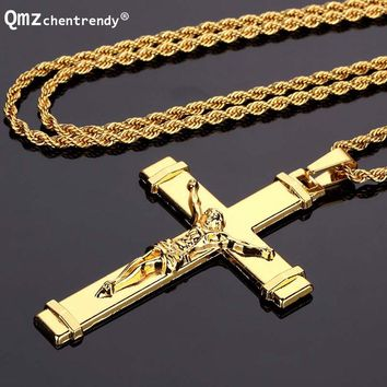 High quality Hip hop Rapper Jesus Christ Cross Pendants Necklace Gold Crucifixio Twistedstring Chain Necklace Men Jewelry