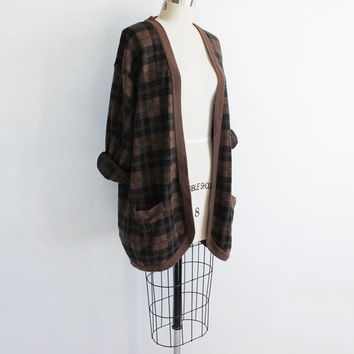 Vintage 80s Black & Brown Plaid Sweater Duster | fits most