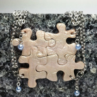 Bridesmaid Best Friend Jewelry Puzzle Necklace Set of 4 Polymer Clay with Swarovski Pearls Set 154