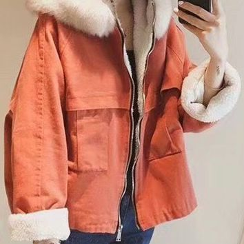 Orange Faux Shearling Lining Hooded Coat