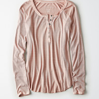 AE Soft & Sexy Ribbed Henley Top, Light Pink