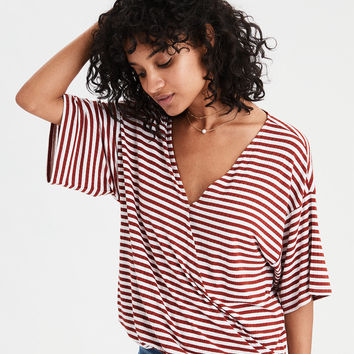 AE Soft & Sexy Ribbed Striped Surplice Dolman, Yellow