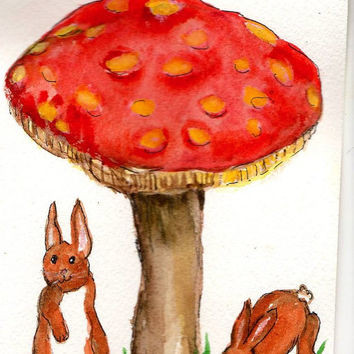 Bunny Rabbits under the Big Mushroom painting original watercolor