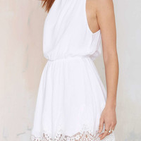 White Cut Out Back Lace Mini Dress