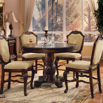 "Acme 64082-84 5 pc chateau de ville ii espresso finish wood 48"" round counter height pedestal dining table set"