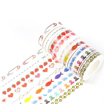 0.8cm*10m fresh pattern split line washi tape DIY decoration scrapbooking planner masking tape kawaii stationery