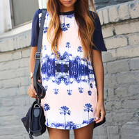 White Tree Silhouette Half Sleeve Mini Dress