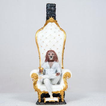 "Altered bottle of ""The Lion King"" statue, sculpture, lion, throne chair, white, gold, zodiac sign of Leo,  original handmade OOAK"
