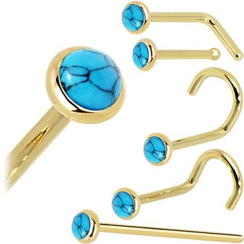 Solid 14KT Yellow Gold 2mm Turquoise Nose Ring