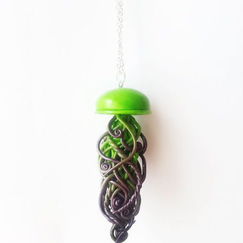 Green and Purple Handmade Jellyfish Necklace - handmade jewelry, jellyfish jewelry, ocean jewelry, mermaid jewelry, polymer clay jewelry
