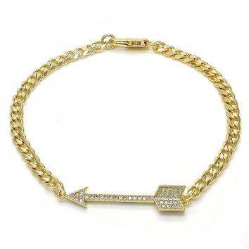 Gold Layered 03.94.0006.08 Fancy Bracelet, with White Micro Pave, Polished Finish, Golden Tone