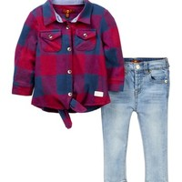 7 For All Mankind | Tie Front Shirt & Skinny Jeans (Baby Girls) | Nordstrom Rack