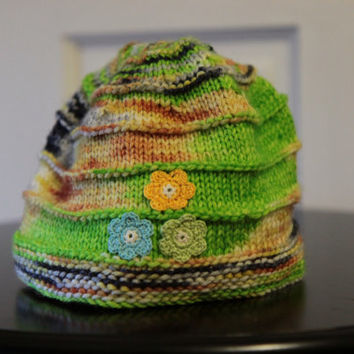 Knit Toddler Hat / Flower Toddler Hat / Colorful Toddler Knit Hat / Ready to Ship!