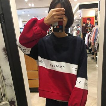 """"""" Tommy Hilfiger """" Women Color matching Scoop Neck Long Sleeve Pullover"""