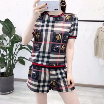 """Burberry"" Women Casual Fashion Multicolor Stripe Tartan Pattern Print Short Sleeve Shorts Set Two-Piece Sportswear"