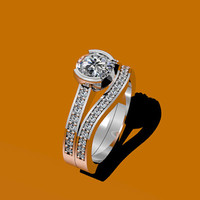 Diamond Wedding Set 14K White Gold with 6.5mm Round Brilliant Cut Moissanite Center - V1039